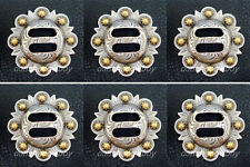 Set of 6 WESTERN HORSE SADDLE TACK ANTIQUE GOLD SLOTTED BERRY CONCHOS 1-1/2""