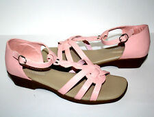 Alfred Dunner Womens Size 9W Jayne Sandals Pink Low Heel Ankle Strap Open Toe