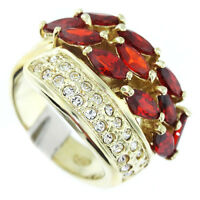 Red CZ's & Clear Crystal Pave Gold EP Sterling Silver .925 Ladies Ring Size 6