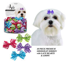 48pc PREMIUM LACE&LOOP Gracie GROSGRAIN HEARTS RIBBON BOWS DOG Grooming Top Knot