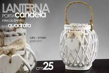 LANTERNA PORTA CANDELA  INTRECCIO BAMBU' BASE QUADRATA 25 CM ARY -671005