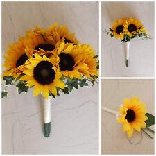 Sunflower Artificial Wedding Flowers - Brides Bouquet - Bridesmaid - Buttonhole