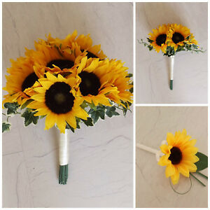 Sunflower Artificial Wedding Flowers - Brides Bouquet - Bridesmaid - Buttonhole
