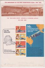 Stamps 50th anniversary Trans Tasman flight mini sheet Bergen souvenir cover