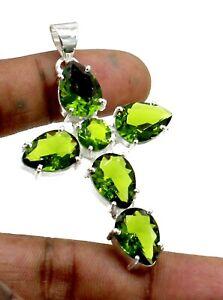 "925 Sterling Silver Green Peridot Gemstone Jewelry Pendant Size-2"""