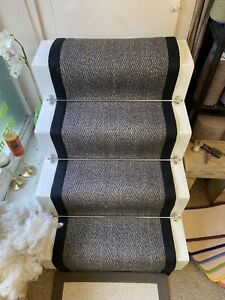 60cm Natural Charcoal Tiger Eye Sisal Stair Runner Black Herringbone Tape Border