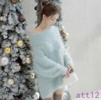 Chic Womens Mohair Sweater Jacket Pullover Knitwear Loose Off Shoulder Warm Coat