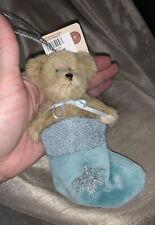 Boyds Bear Let It Snow Snowflake Ornament Nwt Blue Stocking Head Bean Mini