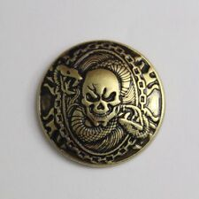 1-1/8'' Western Fortune cover Concho button Antique Brass Skull Saddle Tack Belt