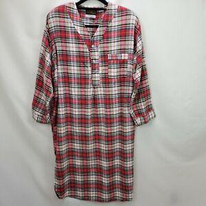 Vintage Eddie Bauer Mens Flannel  Sleepshirt Night Shirt Size Large Red Plaid