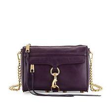 NWT Rebecca Minkoff Mini MAC Leather Crossbody Bag Clutch Aubergine Purple $195+