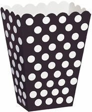8 Black Polka Dot Treat Boxes - Gift Party/Loot/Wedding Cinema PopCorn