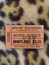 Rocky Horror Picture Show Full Ticket Stub 8th Street Playhouse 1979 Rare Nyc