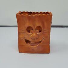 Ceramic Paper Bag Cut Out Pumpkin Face Terracotta Tea Light Holder