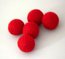 5 pcs/lot Hand-made Crochet Ball (Red) 1 Inch Accessory for Magic Cups and Balls