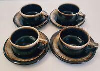 Pfaltzgraff Brown Drip Coffee Cup/Mug & Saucer Set of 4 UNUSED