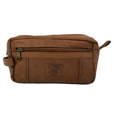 Geoffrey Beene Soft Brown Leather Toiletry Bag