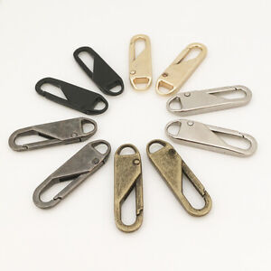 2Pcs Alloy Zipper Head Pull Repair Replacement for #5/8/10 Zip Sewing Detachable