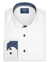T.M.Lewin Mens Casual Slim Fit White Twill Single Cuff Shirt