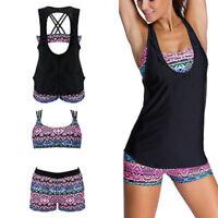 3PCS Women Swimwear Swimsuit Bikini Tankini Short Set Beach Swimming Costume New