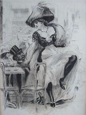 LOBEL RICHE , MOULIN ROUGE BAL , EAU FORTE ORIGINALE 1912,  ALBUM POUPÉES PARIS
