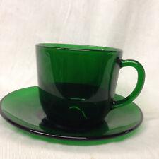 VMC FRANCE GLASSWARE EMERALD GREEN CUP & SAUCER GLASS