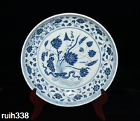 "13.4""Chinese the Ming dynasty  Blue and white  A bunch of lotus  porcelain plate"