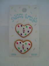 Card : Sweet Treats 2 Lg. Heart Realistic Plastic Buttons