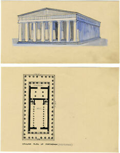 Architectural Plan of Parthenon, Athens, Greece – c.1920s pen & ink drawing