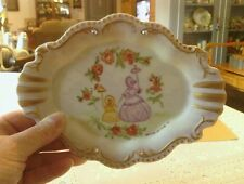 Antique handpainted porcelain trinket dish with gold trim