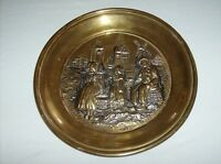 Windmill wall plate vintage brass stamped decorative Holland family scene farm