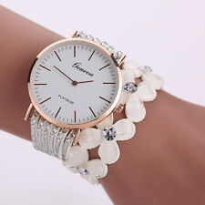 Fashion Women Crystal Diamond Bracelet Stainless Steel Geneva Quartz Wrist Watch