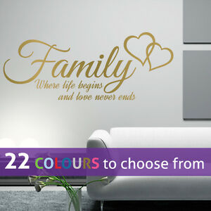 FAMILY where life begins love never ends quote tree wall art sticker decal words