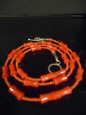 GENUINE LUSTER UNTREATED SALMON  CORAL TOP QUALITY CARVED IN BAMBO  NECKLACE10MM