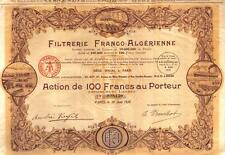Africa Algeria France Filtrerie Company Bond 1928 100fr Uncancelled coupons Deco