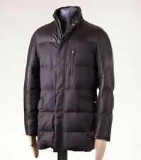 NWT $8800 BRIONI Gray Leather-Silk Goose Down Parka with Alligator Trim XL/54