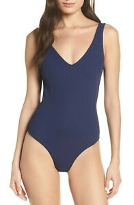 L*SPACE Arizona Ribbed One-piece Swimsuit In Midnight 229$ SIZE 12