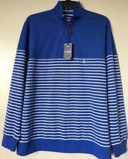 Chaps Cotton Blend 1/4 Zipper Long Sleeve Striped Sweatshirt Size XXL NWT $55.00