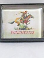 WINCHESTER Waterfall Glass Collection Paperweight Pony Express Cowboy Horse