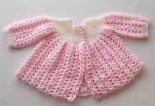 Hand Made Hand Knit Crochet Baby Sweater Coat Baby Girl 6 Months Pink Beautiful