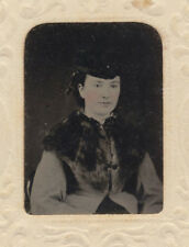 TINTYPE PORTRAIT OF HIGH SOCIETY WOMAN IN FUR W/ RED TINTED CHEEKS
