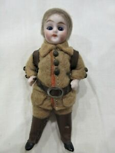 Antique German Dollhouse Bisque Boy Doll Original Hiking Clothes Glass Eyes