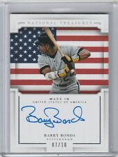 BARRY BONDS MADE IN USA ON CARD AUTO #/10 2016 NATIONAL TREASURES AUTO