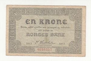 Norway 1 krone 1917 circ. @ low start