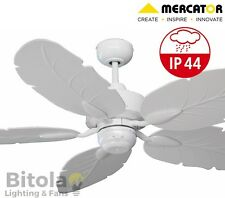 NEW MERCATOR COOYA IP44 OUTDOOR RATED CEILING FAN 5 BLADE - WHITE - FC190135WH