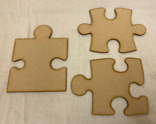 SS19 Set Of 3 Large Puzzle Pieces 200mm X 3mm MDF . Craft Blank Shape