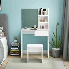 Modern Dressing Table Stool Vanity Set White Bedroom Makeup Desk Mirror&Drawer