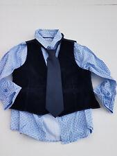 Boys Blue Shirt, Tie and Waist Coat - 4 years