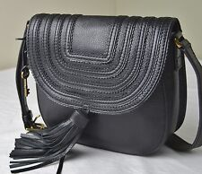 Fossil Emi Black Leather Tassel Saddle Crossbody Messenger Bag