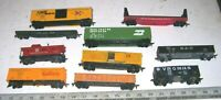 Lot of 10 Vintage TYCO MANTUA & Other HO Scale Freight Train Railroad RR Cars